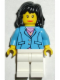 Minifig No: trn117  Name: Medium Blue Jacket, White Legs, Black Mid-Length Female Hair