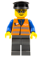 Minifig No: trn120  Name: Orange Vest with Safety Stripes - Dark Bluish Gray Legs, Glasses, Black Hat