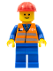 Minifig No: trn121  Name: Orange Vest with Safety Stripes - Blue Legs, Red Construction Helmet