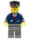Minifig No: trn122  Name: Dark Blue Suit with Train Logo, Dark Bluish Gray Legs, Black Hat, Gray Beard