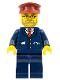 Minifig No: trn123  Name: Dark Blue Suit with Train Logo, Dark Blue Legs, Dark Red Hat - Conductor