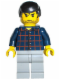 Minifig No: trn124  Name: Plaid Button Shirt, Light Bluish Gray Legs, Black Male Hair, Stubble