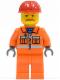 Minifig No: trn129a  Name: Orange Vest with Safety Stripes - Orange Legs, Red Construction Helmet, Brown Moustache, Dark Bluish Gray Hands