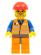 Minifig No: trn143  Name: Orange Vest with Safety Stripes - Orange Legs and Dark Bluish Gray Hips, Red Construction Helmet, Dark Bluish Gray Beard, Glasses
