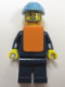Minifig No: trn149  Name: Maersk Train Workman 1 - Gray Beard