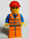 Minifig No: trn152  Name: Orange Vest with Safety Stripes - Orange Legs and Dark Bluish Gray Hips, Red Short Bill Cap - Glued