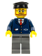 Minifig No: trn222  Name: Dark Blue Suit with Train Logo, Dark Bluish Gray Legs, Black Hat, Beard and Glasses