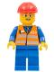Minifig No: trn226  Name: Orange Vest with Safety Stripes - Blue Legs, Gray Frame Glasses, Red Construction Helmet