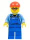 Minifig No: trn227  Name: Overalls with Tools in Pocket, Blue Legs, Red Short Bill Cap, Glasses with Brown Thin Eyebrows