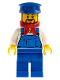 Minifig No: trn228  Name: Overalls Blue over V-Neck Shirt, Blue Legs, Blue Hat, Brown Beard Rounded - Cargo Train Driver