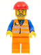 Minifig No: trn229  Name: Orange Vest with Safety Stripes - Orange Legs, Red Construction Helmet, Gray Beard