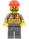Minifig No: trn235a  Name: Light Orange Safety Vest, Dark Bluish Gray Legs, Red Construction Helmet, Black Beard