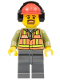 Minifig No: trn238  Name: Light Orange Safety Vest, Dark Bluish Gray Legs, Red Construction Helmet with Headset, Brown Moustache and Goatee