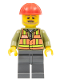 Minifig No: trn239  Name: Light Orange Safety Vest, Dark Bluish Gray Legs, Red Construction Helmet, Beard Light Brown Angular