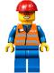Minifig No: trn241  Name: Orange Vest with Safety Stripes - Blue Legs, Red Construction Helmet, Orange Sunglasses