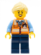 Minifig No: trn245  Name: Train Worker - Female, Orange Safety Vest with Badge, Dark Blue Legs, Bright Light Yellow Ponytail and Swept Sideways Fringe