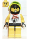 Minifig No: twn005  Name: Race - Yellow, Chip Tiger Pattern, Black Helmet