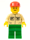 Minifig No: twn011  Name: Shirt with 2 Pockets No Collar, Green Legs, Red Cap
