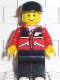 Minifig No: twn021  Name: Red Jacket with Zipper Pockets and Classic Space Logo, Black Legs, Black Cap