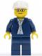Minifig No: twn023  Name: Dark Blue Jacket, Light Blue Shirt, Dark Blue Legs, Square Glasses, White Cap