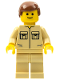 Minifig No: twn030  Name: Shirt with 2 Pockets No Collar, Tan Legs, Reddish Brown Male Hair