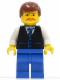 Minifig No: twn033  Name: Black Vest with Blue Striped Tie, Blue Legs, White Arms, Reddish Brown Male Hair, Moustache