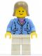 Minifig No: twn040  Name: Medium Blue Jacket, White Legs, Dark Tan Female Hair