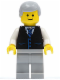 Minifig No: twn041  Name: Black Vest with Blue Striped Tie, Light Bluish Gray Legs, White Arms, Light Bluish Gray Male Hair, Smile