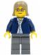 Minifig No: twn045  Name: Dark Blue Jacket, Light Blue Shirt, Dark Bluish Gray Legs, Square Glasses, Dark Tan Female Hair