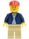 Minifig No: twn047  Name: Dark Blue Jacket, Light Blue Shirt, Tan Legs, Red Long Bill Cap