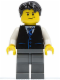 Minifig No: twn049  Name: Black Vest with Blue Striped Tie, Dark Bluish Gray Legs, White Arms, Black Short Tousled Hair