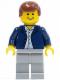 Minifig No: twn053  Name: Dark Blue Jacket, Light Blue Shirt, Light Bluish Gray Legs, Reddish Brown Male Hair (3181)
