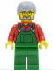 Minifig No: twn055  Name: Overalls Farmer Green, Light Bluish Gray Hair, Glasses