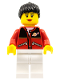 Minifig No: twn056a  Name: Red Jacket with Zipper Pockets and Classic Space Logo, White Legs, Black Female Ponytail Hair, Black Eyebrows (10199 alternate)