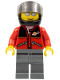 Minifig No: twn060  Name: Red Jacket with Zipper Pockets and Classic Space Logo, Dark Bluish Gray Legs, Black Helmet, Silver Sunglasses