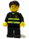 Minifig No: twn091  Name: Fire - Reflective Stripes, Black Legs, Dark Brown Short Tousled Hair