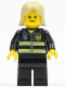 Minifig No: twn093  Name: Fire - Reflective Stripes, Black Legs, Tan Female Hair