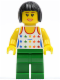 Minifig No: twn110  Name: Shirt with Female Rainbow Stars Pattern, Green Legs, Black Bob Cut Hair