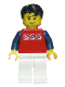 Minifig No: twn111  Name: Red Shirt with 3 Silver Logos, Dark Blue Arms, White Legs, Black Short Tousled Hair