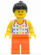 Minifig No: twn114  Name: Shirt with Female Rainbow Stars Pattern, Orange Legs, Black Ponytail Hair