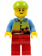 Minifig No: twn118  Name: Sunset and Palm Trees - Red Legs, Lime Short Bill Cap