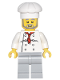 Minifig No: twn120  Name: Chef - White Torso with 8 Buttons, Light Bluish Gray Legs, Gray Beard