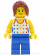 Minifig No: twn128  Name: Shirt with Female Rainbow Stars Pattern, Blue Legs, Dark Red Hair Ponytail Long with Side Bangs