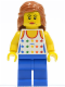 Minifig No: twn129  Name: Shirt with Female Rainbow Stars Pattern, Blue Legs, Dark Orange Female Hair Mid-Length