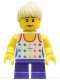 Minifig No: twn130  Name: Shirt with Female Rainbow Stars Pattern, Dark Purple Short Legs, Tan Ponytail Hair