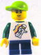 Minifig No: twn131  Name: Classic Space Minifig Floating Pattern, Blue Short Legs, Lime Short Bill Cap