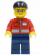 Minifig No: twn145  Name: Post Office White Envelope and Stripe, Dark Blue Legs, Black Short Bill Cap