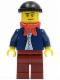 Minifig No: twn148  Name: Dark Blue Jacket, Light Blue Shirt, Dark Red Legs, Red Bandana, Black Knit Cap