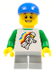 Minifig No: twn166  Name: Classic Space Minifig Floating Pattern, Light Bluish Gray Short Legs, Blue Short Bill Cap