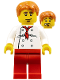 Minifig No: twn187  Name: Chef - White Torso with 8 Buttons, Red Legs, Dark Orange Short Tousled Hair